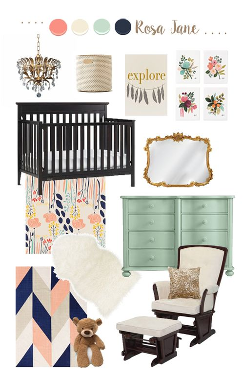 Baby Girl Nursery // Mint, Coral, Navy and Gold // Vintage Chic // DIY Dresser // 5 O'Clock Design Co.