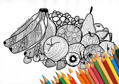 Fruit coloring page, coloring fruits, fruits cornucopia, printable page, download fruit, design for print, fruits art, black and white fruit
