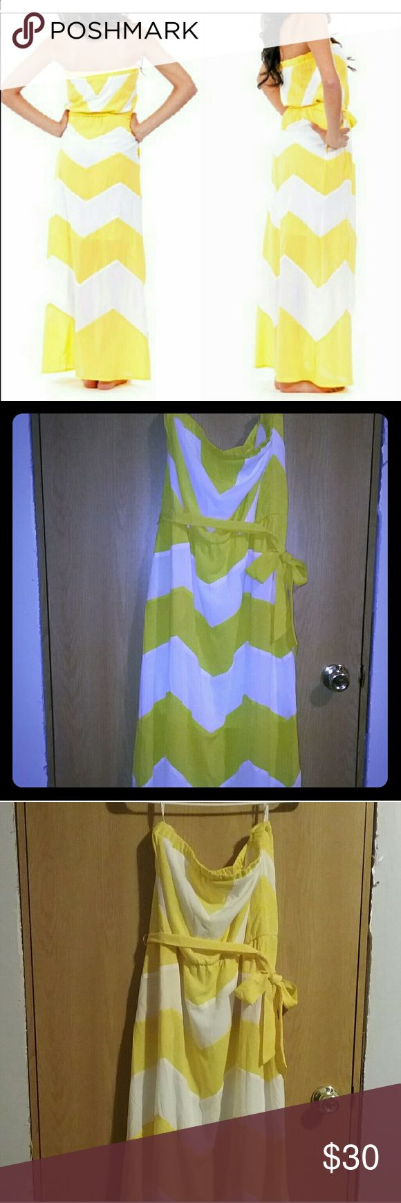Strapless Summer Chevron Maxi Dress Brand New. Re-poshing. Im just not a dress Gal. Size Large. Bright yellow and adorable! Dresses Maxi