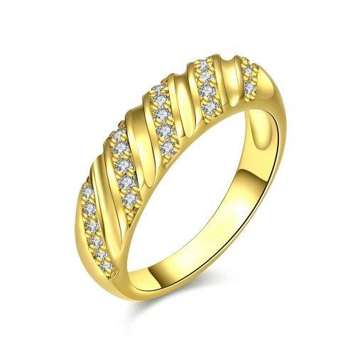 Prsten zdobený Zirkony (CZ) pozlacený 18 karátovým  zlatem