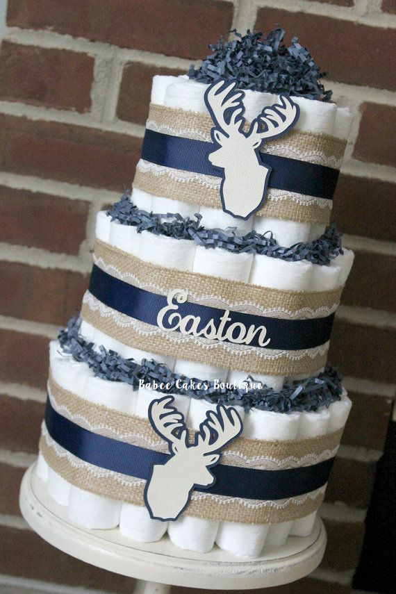 3 Tier Navy & Ivory Deer Head Diaper Cake by BabeeCakesBoutique