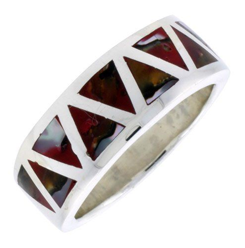 "Sterling Silver Triangular Pattern Flat Band, w/Colorful Mother of Pearl Inlay, 3/8"" (10mm) wide, size 8.5 Sabrina Silver. $35.94"