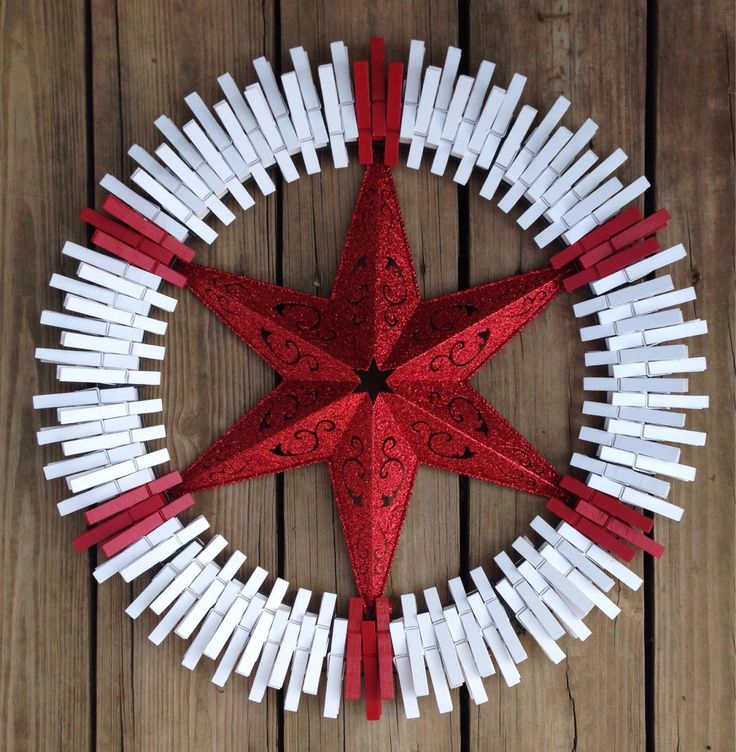 Glitter Red Star clothespin wreath by ThreeDogWreaths on Etsy