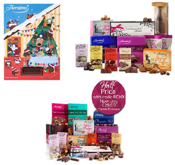 Free Advent Calendar when you spend £25 at Thorntons plus great chocolate hampers half price. Visit http://savingslinks.co.uk for Voucher Codes