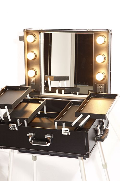 This Mobile Beauty Station is perfect for makeup artists or hairdressers/hair stylists. It features six light bulbs around the mirror and an electric socket which can be used for straighteners or any styling tools you need to use. The station also features storage compartments which are perfect for organising makeup and beauty essentials. The station folds down into a trolley, where the removable legs are hidden within the base –...Read More...