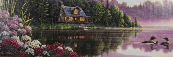 Puzzle panorámico de 1000 piezas de Clementoni. Estilo Thomas Kinkade. Casa en el lago con patos. De venta en Puzzlemania.