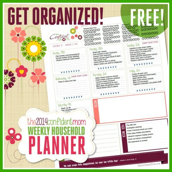 Free 2014 Confident Mom Weekly Household Planner