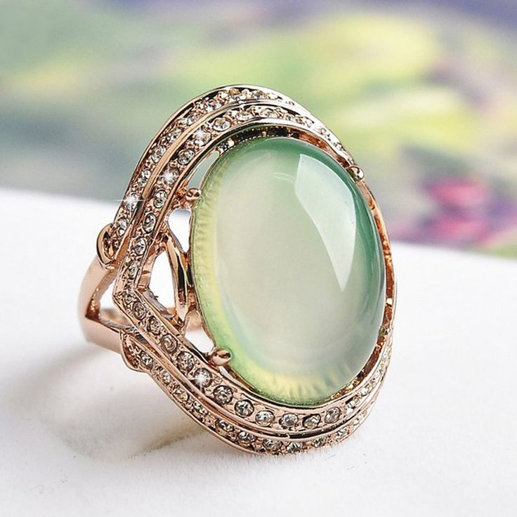 Natural Green Stone Wedding Rings for women CZ Diamond Jewelry Rose Gold Plated rings female AAA Austria Crystals Anel bijoux S8