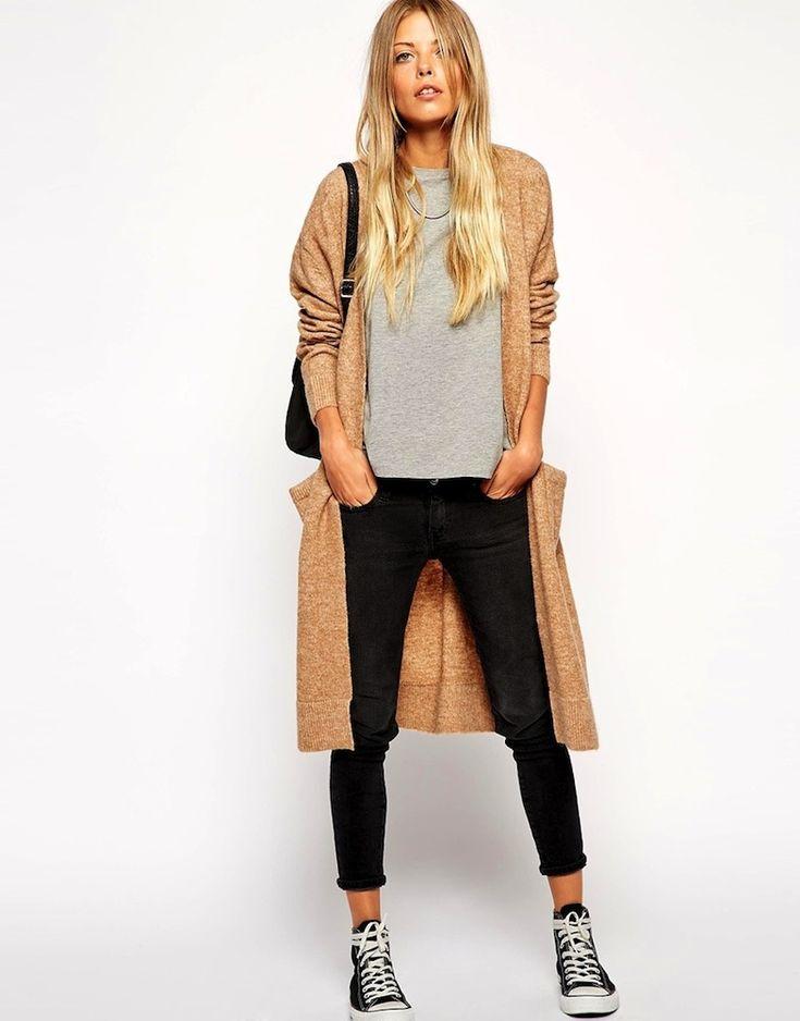 Le Fashion Blog -- Weekend Uniform: Asos Long Cardigan, Grey Tee, Cropped Black Jeans & Converse Sneakers -- photo Le-Fashion-Blog-Weekend-Uniform-Asos-Long-Cardigan-Grey-Tee-Cropped-Black-Jeans-Converse-Sneakers.jpg