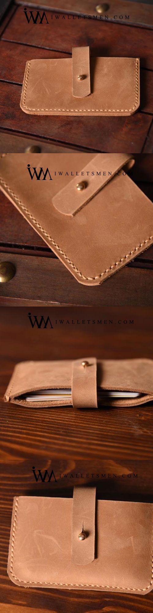 HANDMADE MENS COOL SHORT LEATHER WALLET MEN SMALL CARD SLIM WALLETS BIFOLD FOR MEN