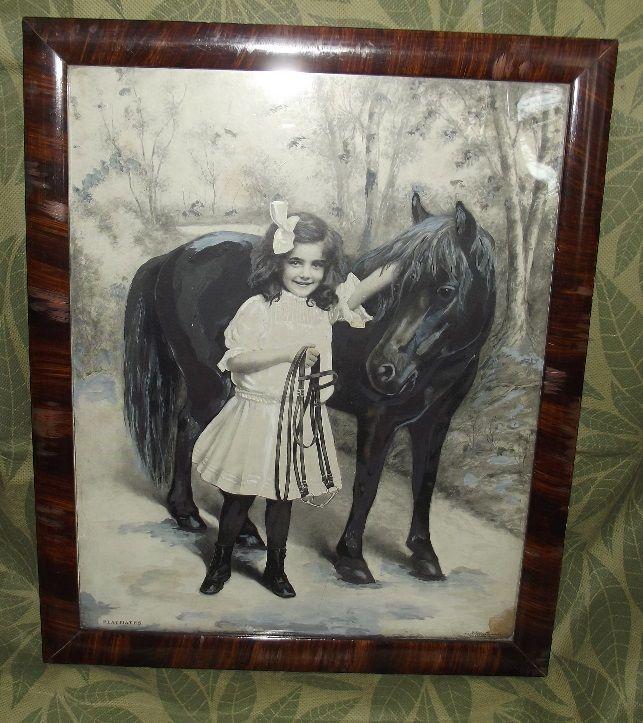 Antique PLAYMATES Girl Pony Print Merchants Publishing Co 1903 Tiger Wood Frame