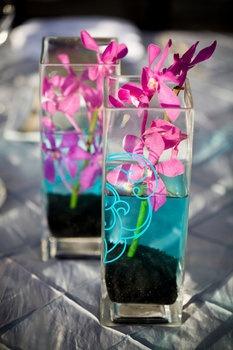 Wedding, Flowers, Reception, Pink, Blue, Purple, Black