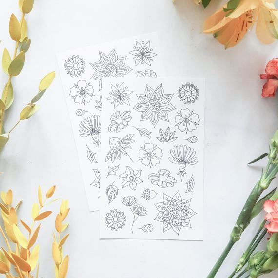 adult colouring stickers planner stickers cool stickers flower stickers flower colouring page mandala stickers white stickers by AnnaGrundulsDesign