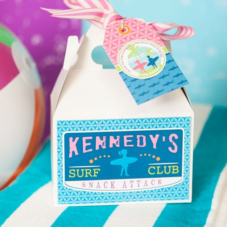 Surfer Girl Surfs Up Sharks Birthday Party Customized Box Label