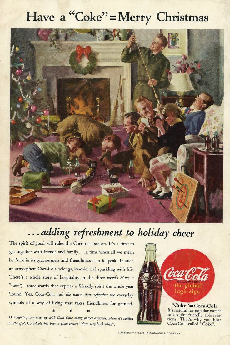 Vintage+Christmas+Coke+Ad++1944+World+War+2+by+zippitydoodlepaper,+$6.00