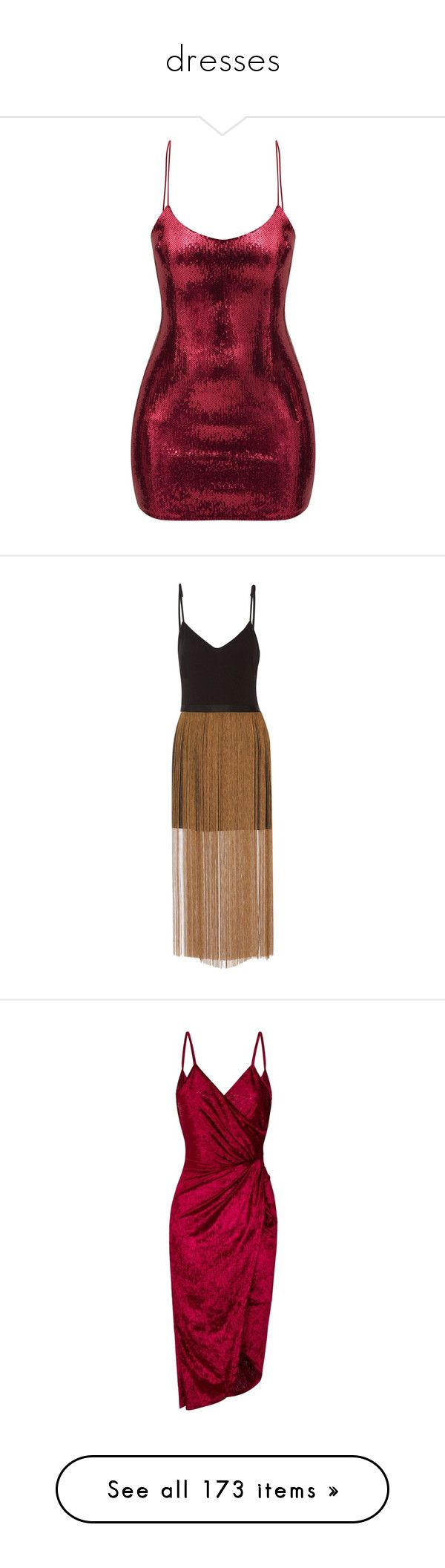 """dresses"" by xsaturnox ❤ liked on Polyvore featuring dresses, vestidos, burgundy red dress, red bodycon dress, bodycon cocktail dresses, red body con dress, burgundy sequin dress, fringe dress, brown mini dress and brown dresses"