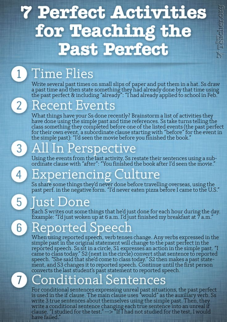 POSTER: 7 Perfect Activities to Teach the Past Perfect