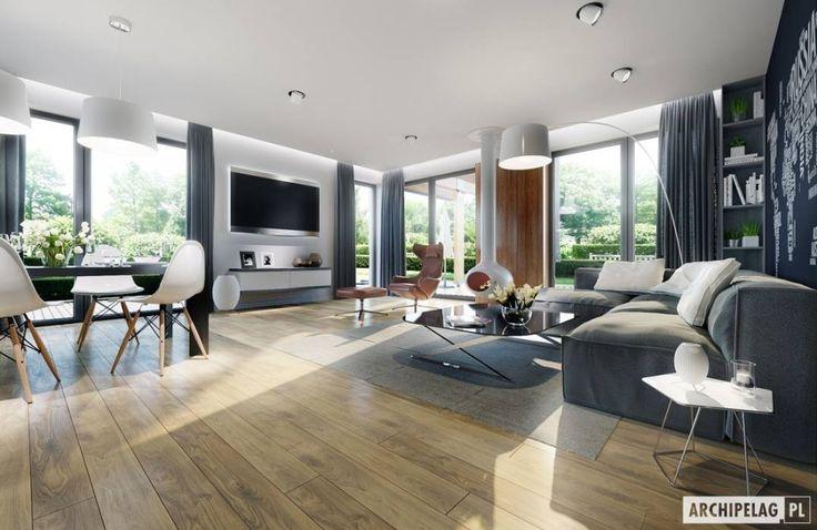 Projekt domu Simon G2 : styl translation missing: pl.style.salon.nowoczesny, w kategorii Salon zaprojektowany przez Pracownia Projektowa ARCHIPELAG