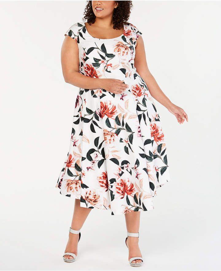 Plus Size Floral-Print Fit & Flare Dress 11