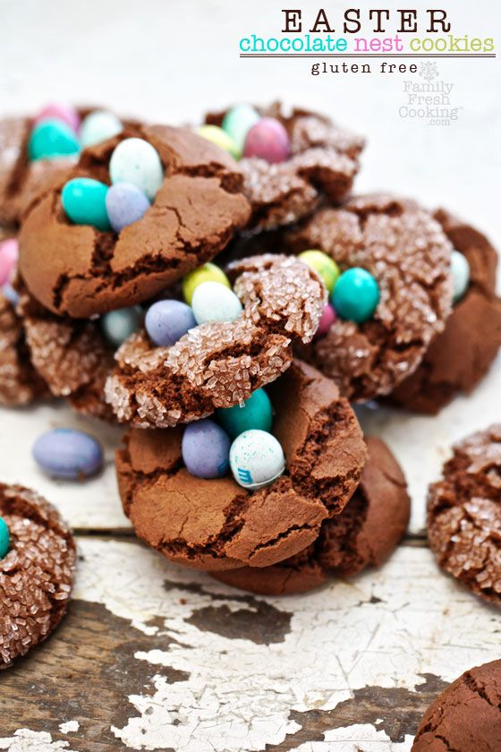 Easter Chocolate Nest Crinkle Cookies. #recipe #easter