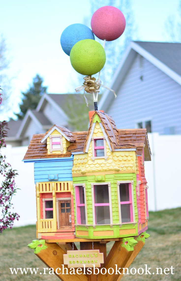 Rachael Day in West Jordan, UT created a darling #LittleFreeLibrary #bookbox that looks like the house from UP! Learn more about it at www.rachaelsbooknook.net