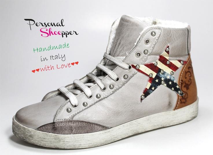 #sneakers #scarpe da donna in vera pelle con riporti in camoscio e cuoio -