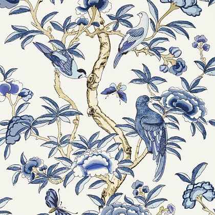 Thibaut Giselle Wallpaper in Blue and White Coral