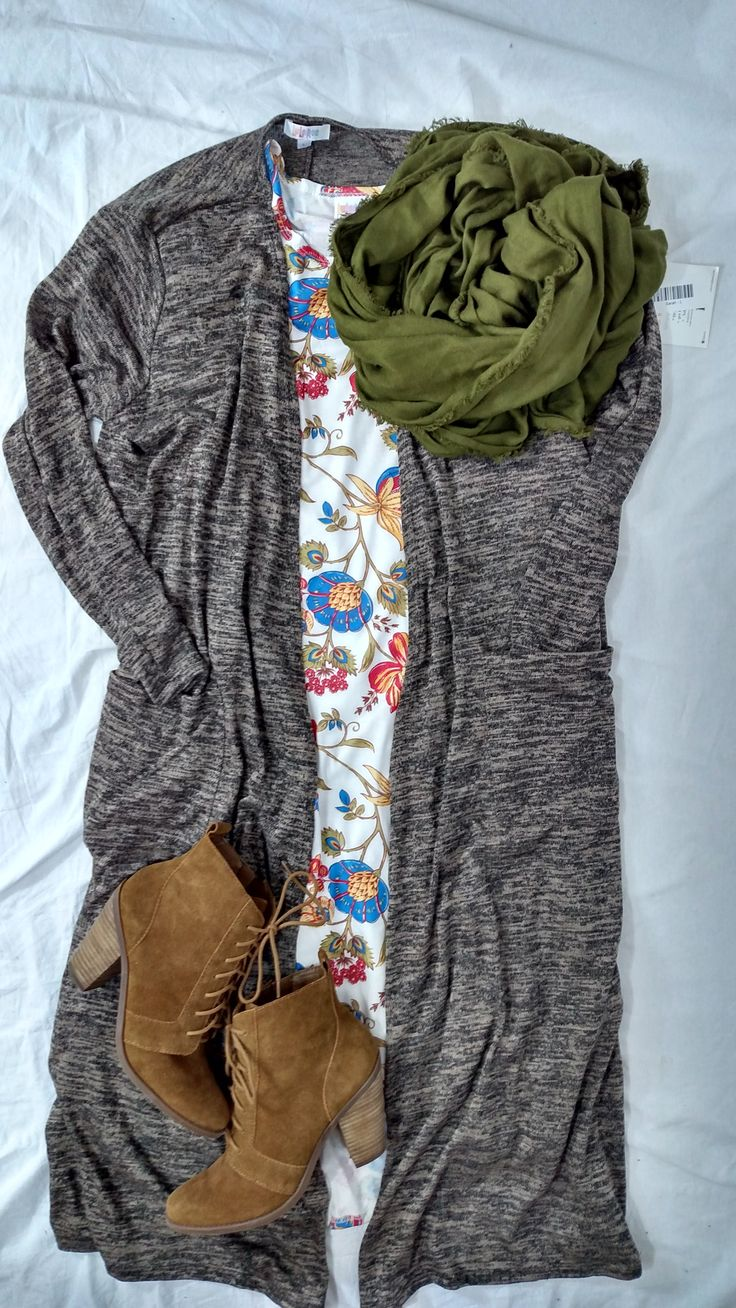 Styled by LuLaRoe Tracie Nath -LuLaRoe Carly with a LuLaRoe Sarah Cardigan. Booties and a scarf to accessorize   Perfect LuLaRoe Fall Outfit