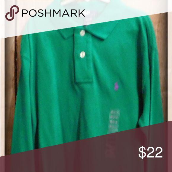 BNWT Polo Ralph Lauren long sleeve shirt BNWT Kelly green long sleeve Polo Ralph Lauren shirt. Boys size medium 12/14. Never worn. Polo by Ralph Lauren Shirts & Tops Polos