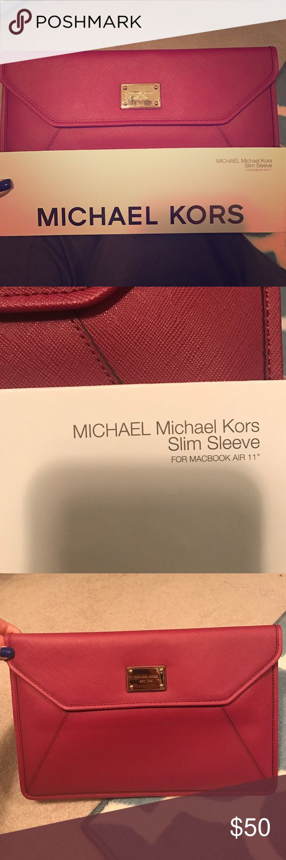 """Michael Kors MacBook Air case Cute way to protect your MacBook Air!  Peony safiano slim sleeve for MacBook 11"""" dimensions are 13"""" x 8.25"""" reg $89 Michael Kors Accessories Laptop Cases"""