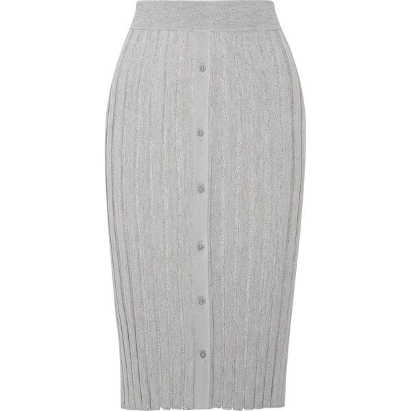 Altuzarra Burnet ribbed stretch-knit midi skirt (€610) ❤ liked on Polyvore featuring skirts, grey, gray pencil skirt, pencil skirts, grey pencil skirt, calf length pencil skirts and midi skirt