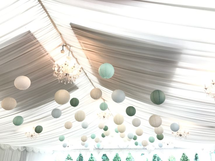 40 cream, lace, ice blue, robin egg, sage green paper lanterns