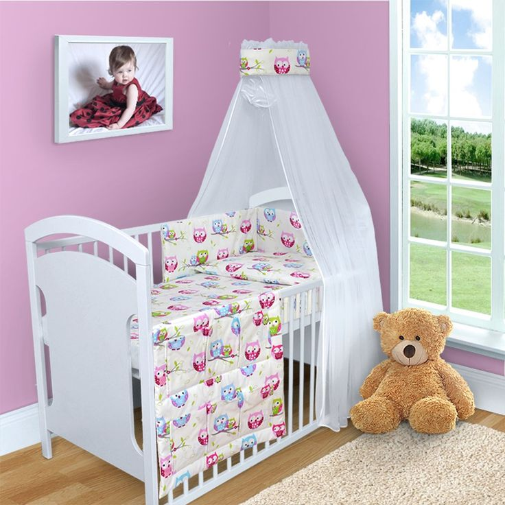 10 PCS BABY BEDDING SET CANOPY DUVET COVER PILLOW COVER BUMPER MOSQUITO NET  140x70 (Owls - 12 Best COTS Images On Pinterest Cots, 3/4 Beds And Canopy