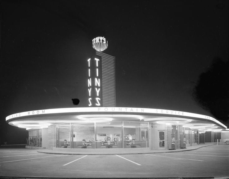 Shown is an exterior view of Tiny's Drive-In in San Jose, its rounded architecture typical for the 1950s. Creator/Contributor: Del Carlo, Arnold Date: May 4, 1956 Contributing Institution: Sourisseau Academy for State and Local History