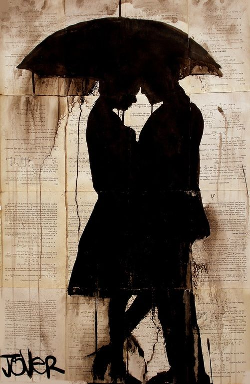 "Loui Jover; Pen and Ink, Drawing ""rendezvous"" - ""Wet lines and uneven lines always express drama in the visual devices being used.  The overall roughness brings ones imagination way beyond the silhouette.  Minimalism enables maximum imagination."" -  Carlo de Leon Art Opinions™ #artopinions #carlodeleon"