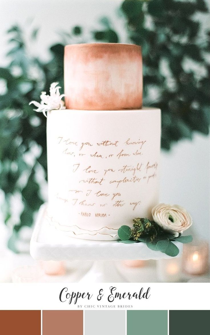Copper & Emerald Fall Wedding Colour Palette || Autumn Wedding Colours || Fall Wedding Ideas || Autumn Wedding Cake