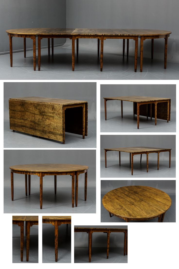 Rarely offered flame birch conference table in three sections comprised of two semi-circular tables and a centre table with drop leaves. Conical legs with rosewood caps. Designed c. 1946 and produced by master cabinetmaker Ludvig Pontoppidan. Total L. 360 x 165 cm. H. 73.5 cm.  Provenance: Specially ordered in Swedish birch for 'Den Almindelige Danske Lægeforening' (Danish Medical Association) headquarters at Det Plessenske palæ, Kristianiagade 12, Copenhagen