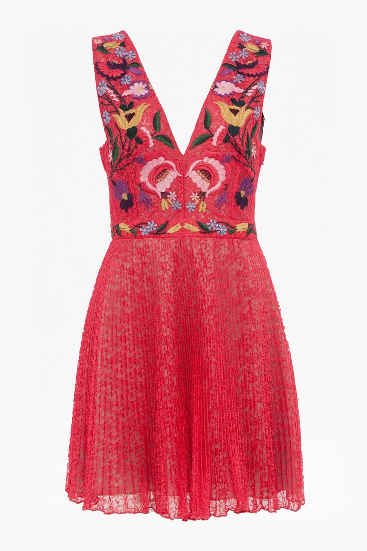 <ul> <li> Red floral-lace dress with multicoloured floral embroidery at bodice</li> <li> Low V-neck</li> <li> Low back with centre strap</li> <li> Pleated flared skirt</li> <li> Fully lined</li> <li> Concealed side-zip fastening</li> <li> Fitted waist</li> <li> Fit-and-flare fit — fits closely at the waist and splays out from waist to hem</li> <li&gt...