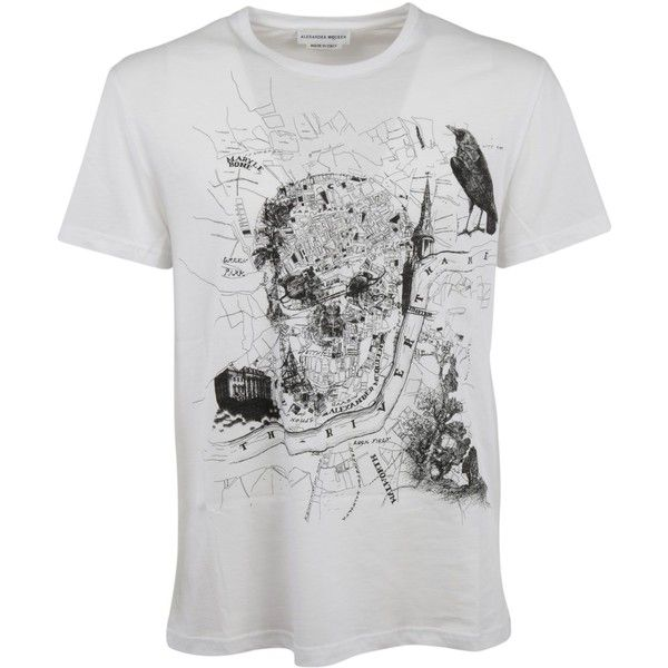 Printed T Shirt ($184) ❤ liked on Polyvore featuring men's fashion, men's clothing, men's shirts, men's t-shirts, menclothingtopwear, white, mens white cotton shirts, alexander mcqueen mens shirt, alexander mcqueen men's t shirt and mens short sleeve t shirts