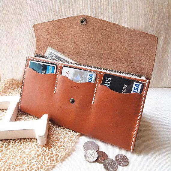 Personalized Long Zipper Wallet  Leather  Hand Stitched by harlex.