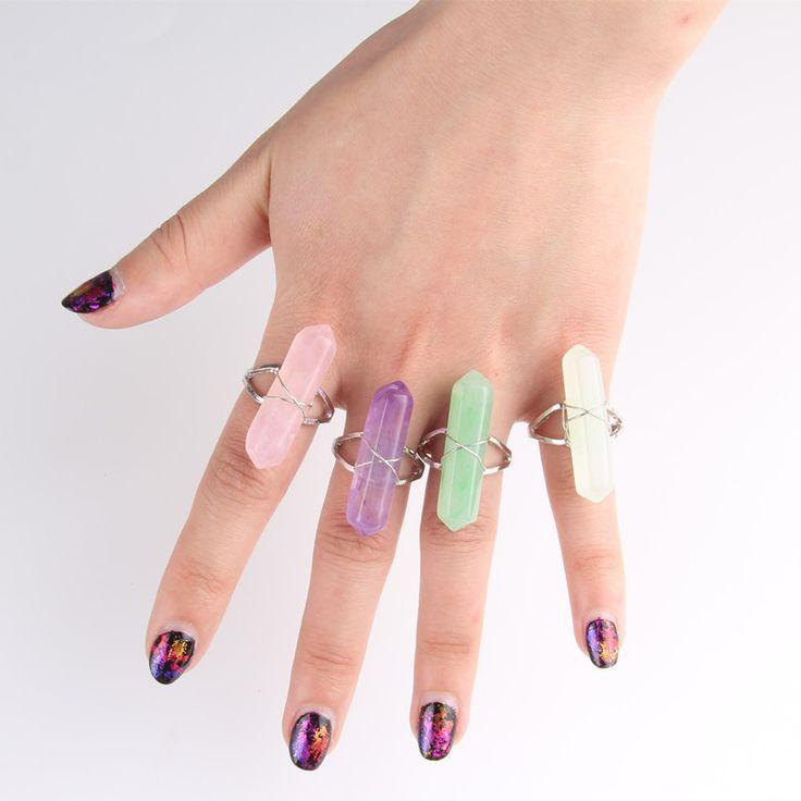 1PC Boho Big Stone Finger Ring Adjustable Open Hippie Rings for Women 1D4021