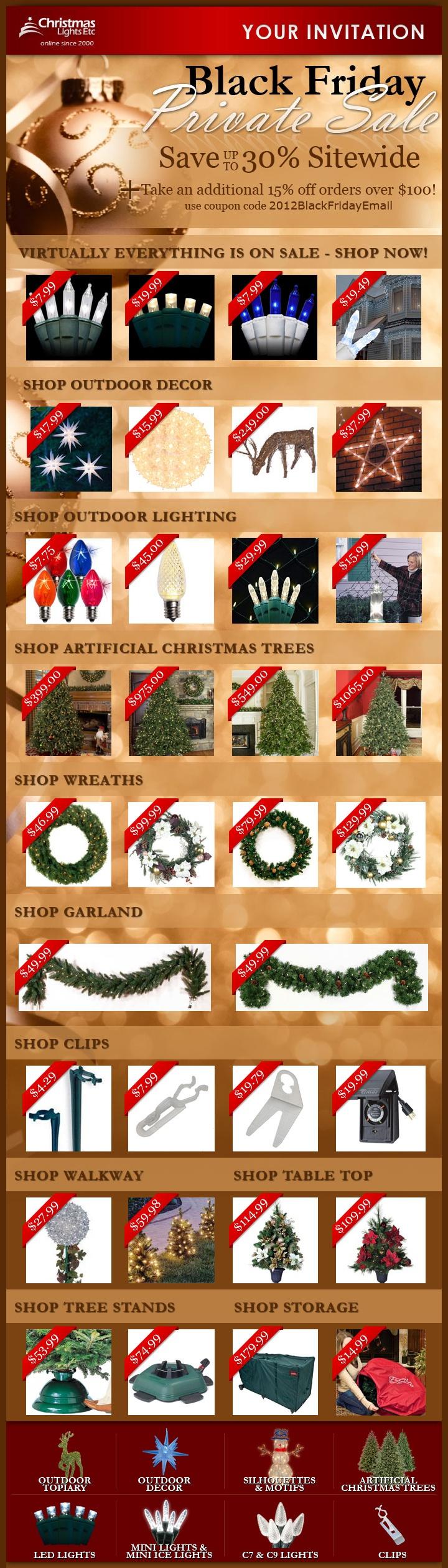 Christmas Lights Etc Email - 11/23/2012 Black Friday Sales! Join our email list for 2013 Black Friday sales alert: http://www.christmaslightsetc.com/pages/specials-signup.htm?src=pinterest