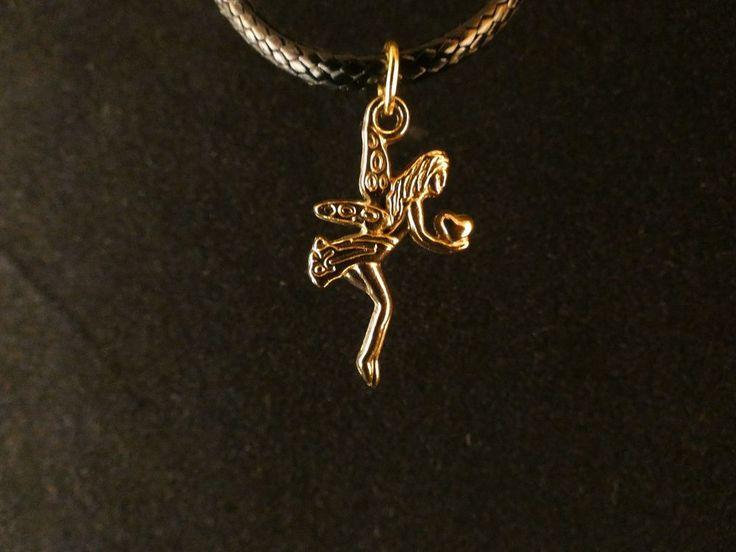 Fee Anhänger mit Kette 24 Karat Vergoldet Gold Elfe Fabelwesen Herz Liebe Glück