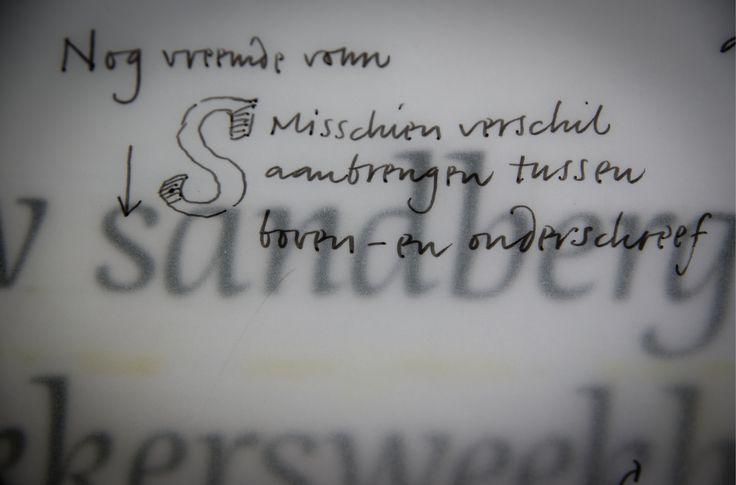 Typeface design Dorian. First tests and comments (photocopied words pasted on a sheet of paper, 1991).
