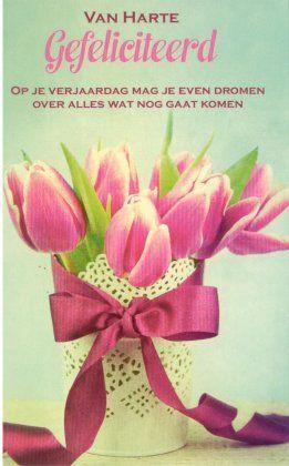 gefeliciteerd bloemen vrouw
