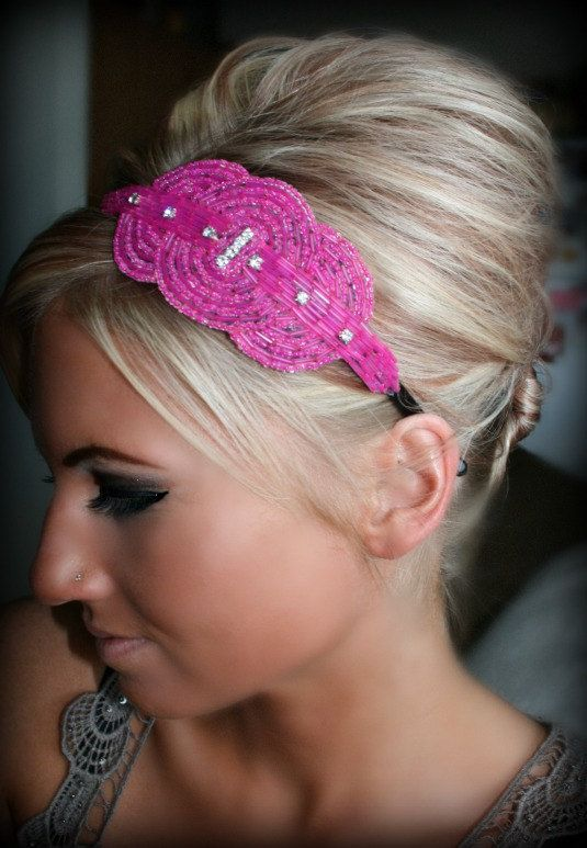 If I ever get to be a maid of honor. . . I hope my hair is this big.Hair Ideas, Hair Beautiful, Bridesmaid Hair, Rhinestones Headbands, Rhinestones Beads, Beads Headbands, Cute Hair, Fuschia Rhinestones, Amy Hair