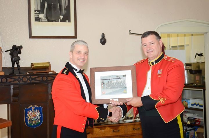 Outgoing Commanding Officer Capt TJ Townley CD presents Reviewing Officer Maj J Barrett CD with a gift of appreciation from 2472 RCACC - http://ift.tt/1HQJd81