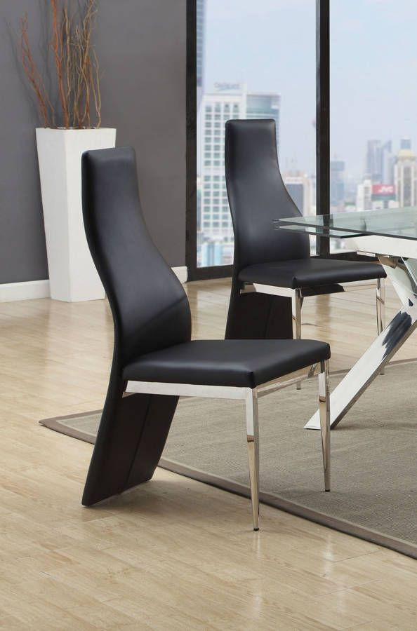 Superbe 2 Ella Modern Black PU Curvy High Back Chairs