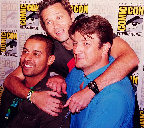 Jon Huertas, Seamus Dever and Nathan Fillion at San Diego Comic Con.