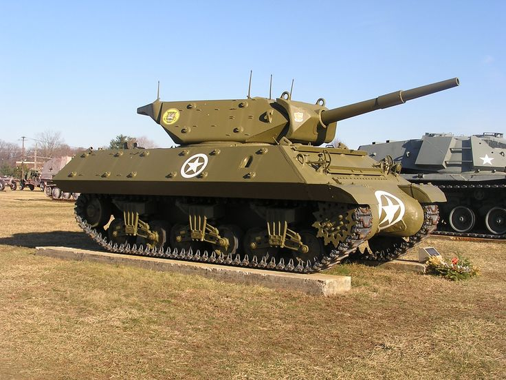 """U.S. M10 Tank Destroyer with the late production """"duck bill"""" counterweights fitted at the turret rear."""